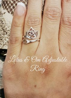 Lotus & Om Adjustable RingSterling Silver by ShopBOHEMIA on Etsy, $27.00