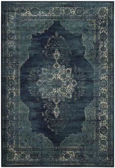 Safavieh Vintage Premium Collection Transitional Oriental Navy Distressed Silky Viscose Area Rug x