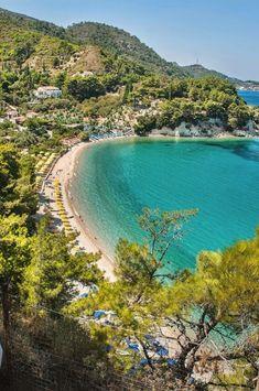 Blue green waters of Tsamadou beach, samos, Greece