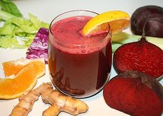 Beauty & the Beet Juice Recipe | INGREDIENTS: 2 oranges 1 large beet 2 celery stalks ¼ small red cabbage 1 in (2.5 cm) piece of fresh turmeric