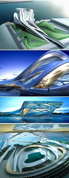 Zaha Hadid's Performing Arts Centre concept in Abu Dhabi, United Arab Emrites: a 62 metre high building proposing to house five theatres – a music hall, concert hall, opera house, drama theatre and a flexible theatre - with a combined seating capacity for 6,300.