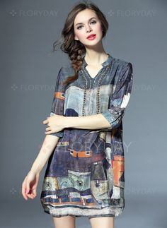 Dresses - $94.69 - Silk Others 3/4 Sleeves Above Knee Vintage Dresses…