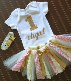 Oro y rosa primer cumpleaños Tutu Set cambios de oro