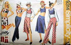 Vintage 70's Simplicity 9314 Sewing Pattern, Jiffy Hip-Hugger Pants In Two Lengths, Hip-Hugger Midi-Skirt And Top, Size 14, 36 Bust