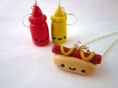Kawaii Hot Dog Ketchup Mustard Food Necklace 3 Piece by DoodieBear, $20,00