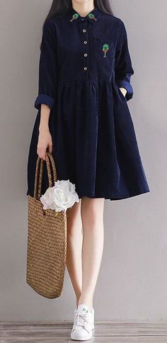 Women loose fit plus large size pocket dress embroidered tree skater skirt chic #unbranded #dress