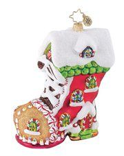 Christopher Radko Glass Sweet Tooth Boot Christmas Ornament