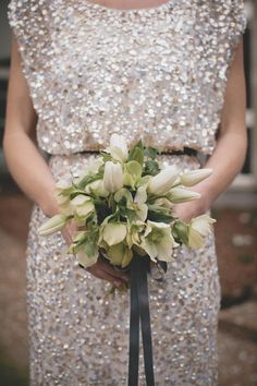 Gold Sequin Bridesmaid Dress and Lovely Bouquet - great for a single bridesmaid