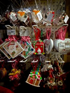 Huge selection of Christmas tree decorations. Love hearts, Gingerbread houses, Snowmen, Santa and Gingerbread men.