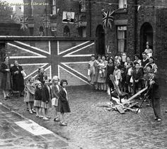 Bonfire at Street Party, Chorlton-on-Medlock, 1945 Childrens Street Party, Rosamund Street, Chorlton on Medlock, V E Day (Victory in Europe, end of World War II)