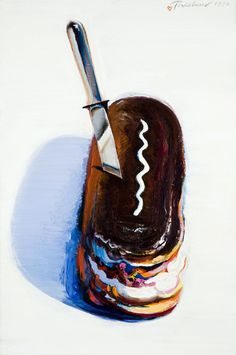 "1972. Wayne Thiebaud ""Eclair"". Seemingly PopArt. In fact, not at all linked to the way advertising represents objects. Here rather interest in the very essence of it. Thiebaud : ""the interesting problem with realism is that is seems alternately the most magical alchemy on the one hand, and on the other the most abstract construct intellectually""."