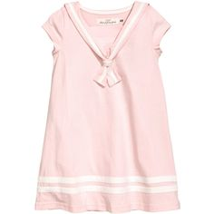 H&M Sailor Dress $9.99 ($9.99) ❤ liked on Polyvore featuring dresses, cotton jersey, short-sleeve dresses, h&m dresses, cotton jersey dress and light pink short sleeve dress