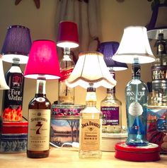 DIY Bottle Light Ideas How to Make a Liquor Bottle Lamp. This would be great for my Wine party decoration to Make a Liquor Bottle Lamp. This would be great for my Wine party decoration