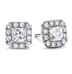 """ENTER OUR """"PIN TO WIN"""" GIVEAWAY FOR A $1000 GIFT CERTIFICATE! You could choose these 2.50 Carat T.W. Princess Cut Halo Diamond Studs #bhjewelers #bridal #bridetobe #wedding #diamonds #love #giveaway #sweepstakes"""