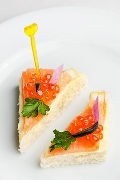 canape with red caviar and smoked salmon by starush, via Flickr