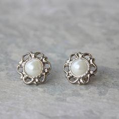 Silver and Pearl Earrings Ivory Pearl Earrings by PetalPerceptions