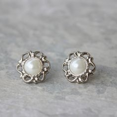 Silver and Pearl Earrings Ivory Pearl Earrings by PetalPerceptions