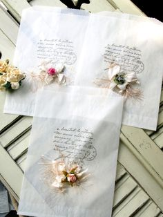 French Script Glassine Bags