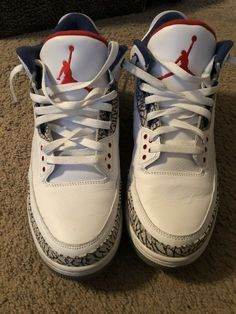 competitive price 05a6d 55116 Rare Nike Air Jordan Retro 3 True Blue III White OG 2016 Sz 14