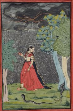 """""""The Eager Heroine on Her Way to Meet Her Lover out of Love (Kama Abhisarika Nayika)."""" Uttaranchal, Garhwal, India. early 19th C."""