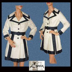 Vintage 60s Mod Raincoat // 1960s Navy Blue & White Lydia Montreal Design Ladies Size M