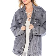 OVERSIZED DENIM JACKET ($45) ❤ liked on Polyvore featuring outerwear and jackets