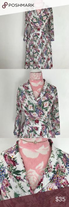 Mango Classy wrap flower dress S Mango retro style dress, size S. Beautiful wrap dress with flower print. Accentuates waist and hits below the knee. In excellent condition, perfect for a classy gal. BUNDLE & SAVE 15% ❌TRADES❌ 🎉911018🎉 Mango Dresses Midi