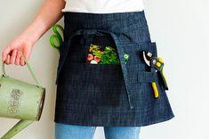 Garden apron, Dark denim apron, multi pocket half apron for garden or home, gardening apron, florist apron Jean Apron, Tool Apron, Work Aprons, Gardening Apron, Personalized Aprons, Aprons For Men, Linen Apron, Apron Designs, Half Apron