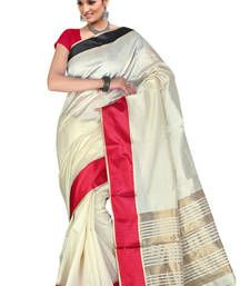 Buy Off White hand woven cotton saree with blouse cotton-saree online
