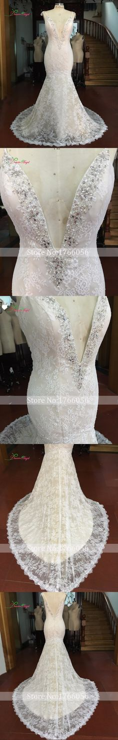 Dream Angel Sexy Deep V Neck Backless Lace Mermaid Wedding Dresses 2017 Appliques Boho Spaghetti Straps Robe De Mariee Plus Size