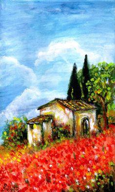 Poppies in Tuscany - acrylic by ©Bulgan Lumini (via ArtistRising)