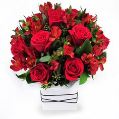 Ruby Red - arrangement of roses and peruvian lilies, also known as alstroemeria.