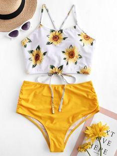 ZAFUL Crisscross Ruched Sunflower Tankini Set - Bright Yellow M spring summer 2019 swimwear trends,navy blue one piece swimsuit,best swimsuit Summer Bathing Suits, Girls Bathing Suits, Yellow Bathing Suit, Bikini Sets, Push Up Bikini, Bikini Bottoms, Crop Top Bikini, Striped Bikini, Floral Bikini