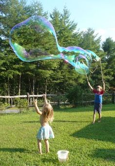Giant Bubble Fun. (Family Fun was where I originally found the idea: http://familyfun.go.com/crafts/giant-bubble-wand-1018723/)