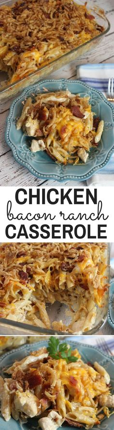 This is an amazing casserole! This is hearty, creamy and bursting with flavor from chunks of bacon throughout the dish. The bacon, ranch and cheese combo is perfect.