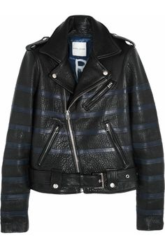 Let the heart attacks commence. Each x Other stripe leather jacket via @NET-A-PORTER.COM