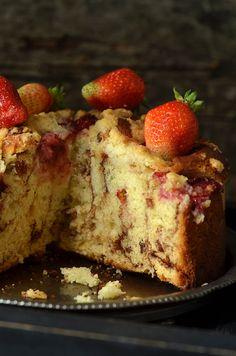 ciasto drożdżowe ztruskawkami French Toast, Cheesecake, Cooking Recipes, Sweets, Dinner, Breakfast, Desserts, Pane, Bakken
