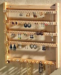 The earrings rack I have actually looks nicer than this, but the eBay seller I purchased it from appears to no longer be in business. Wall earring organizers are amazing though, because earrings are designed to be displayed, and on your ears, you can only show off so many at a time. With this, your gems become a piece of art on display in your home.