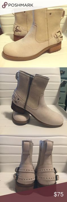 New Ugg Cream Ankle Boots Size 8 Brand new women's Ugg Australia Orion Boots. Soft suede like material with wool lining on the boots of the inside of the boot. Never worn. Retail for $160. Super cute boots for fall! UGG Shoes Ankle Boots & Booties