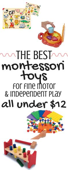 These Montessori-style toys are perfect for teaching babies & toddlers to play independently. Each toy also helps promote fine motor development! The best part is each toy can be bought on Amazon for under $12! Winning all around!