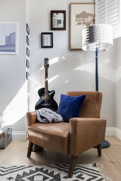A bright reading corner, leather armchair by The Conran Shop matched with dark blue velvet, grey walls by Farrow & Ball and an up-cycled standard lamp. Online Interior Design Services, Interior Design Work, Gravity Home, Cosy Corner, Under The Table, Bespoke Design, Farrow Ball, Grey Walls, Contemporary