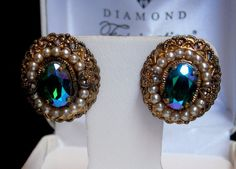 VTG W Germany Swarovski Aurora Borealis Peacock Blue Crystal Rhinestone Earrings #WGermany #VintageWGermanyVictorianRhinestoneEarrings