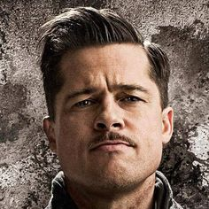 Brad Pitt Inglourious Basterds Hairstyle - Best Brad Pitt Haircuts: How To Style Brad Pitt's Hairstyles, Haircut Styles, and Beard #menshairstyles #menshair #menshaircuts #menshaircutideas #menshairstyletrends #mensfashion #mensstyle #fade #undercut #bradpitt #celebrity #bradpitthair Walrus Mustache, Mustache And Goatee, Handlebar Mustache, Goatee Styles, Beard Styles, Hair Styles, Hairstyles Haircuts, Haircuts For Men, Celebrity Hairstyles