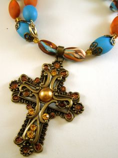 Polymer Clay Cross Necklace, by Pink Chapeau at The Craftstar