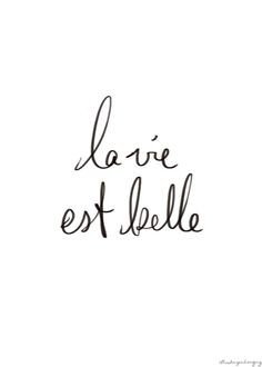 La vie est belle. life is BEAUTIFUL.