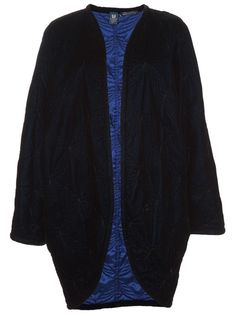 Night blue silk velvet coat from Emanuel Ungaro featuring an open front with curved hem, embroidered patterns and a bright blue lining. £509