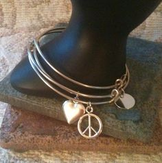 Alex and ani Inspired Peace and Love BangleSet by GrecoGirlJewelry Jewelry Tools, Wire Jewelry, Jewelry Art, Jewlery, Silver Jewelry, Jewelry Making, Unique Jewelry, Handmade Jewelry Designs, Bangle Set