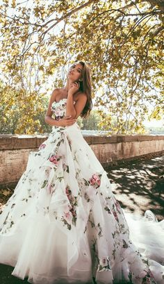 floral print overlay alessandro angelozzi wedding dress, absolutely stunning by I could never pull it off Alessandro Angelozzi Couture 2015 presents Bianca Balti collection, another appealing wedding gown collection Bridal Gowns, Wedding Gowns, Wedding Blue, Trendy Wedding, Wedding Colors, Wedding Bridesmaids, Wedding Cakes, Floral Wedding Dresses, Wedding Dresses With Color