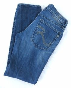 Rock & Republic Jeans Colburg 32x32 Blue Slim Skinny Straight Blue Stretch Rigid #RockRepublic #SlimSkinny