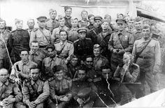 Group portrait of soldiers of the 201st Tank Brigade. Kharkov region, 1943.